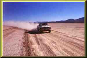 Dirt road across dry lake looking S/E